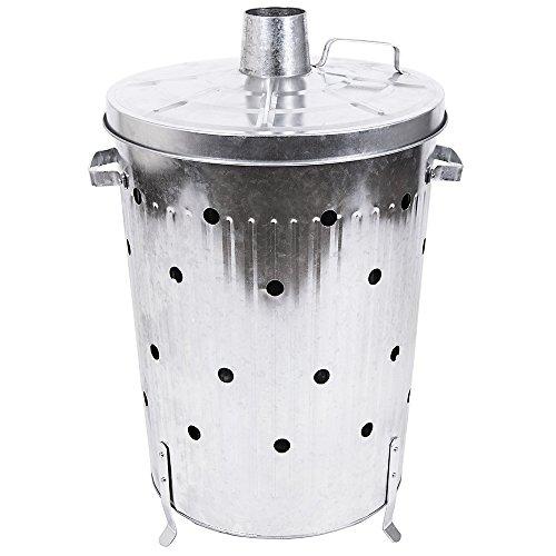 -[ Home Discount Extra Large Incinerator Galvanised Metal Garden Fire Bin Dustbin Rubbish Paper Lea