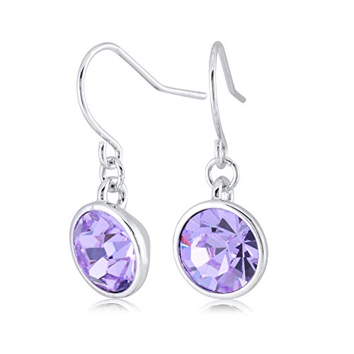 UPSERA Violet Drop Dangle Earrings for Women Girls Crystals from Swarovski Silver Tone Plated Earrings Jewelry