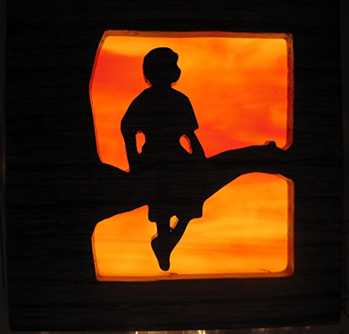 Stain glass night light Girl on Tree silhouette Handmade in the - Glasses Silhouette Kids
