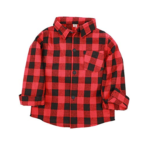 Toddler Kid Boys Plaid Shirt,Long Sleeve Button Down Gentleman Top,Casual Blouse T-Shirt 24M-7T Red - England Gravy Boat