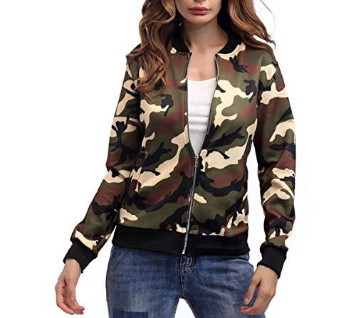 Mimetico Lunga Verde Coat Tops Autunno Cime Mimetici Outerwear Manica Cappotti Moda Giacca Donna Casual Bomber E Jungen Primavera Jacket Con Giacche Zip 4B1Aqw