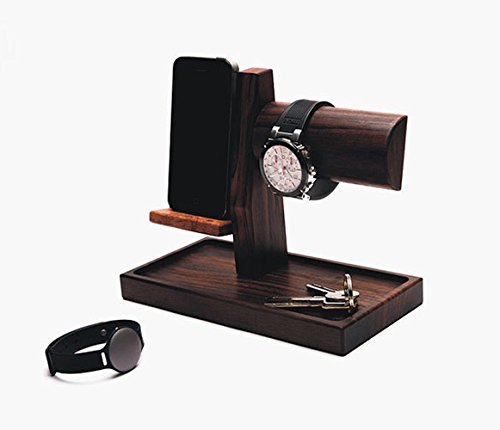 (Premium Handmade Rosewood Cellphone Docking Station Watch Cellphone Charging Dock Key-Chain Wallet Sunglasses Coin Organizing Stand Men Birthday/Father's Day Idea (Brown))