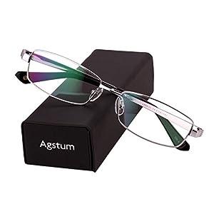 Agstum Pure Titanium Full Rim Glasses Frame Optical Eyeglasses Rxable 54mm (Silver, 54)