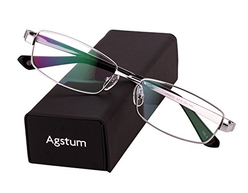 - Agstum Pure Titanium Full Rim Glasses Frame Optical Eyeglasses Rxable 54mm (Silver, 54)