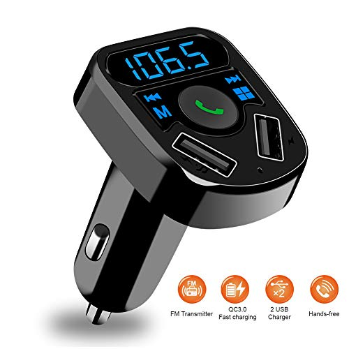 SOOTEWAY Bluetooth FM Transmitter, in-Car Wireless Radio Transmitter Adapter Music Player Car Kit W Blue Circle Ambient Light, 2 USB Ports, Hands Free Calling, TF Card & USB Flash Drive Support