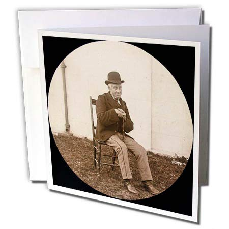 - 3dRose Scenes from The Past - Magic Lantern - 1890 Photo Gentleman with Derby Cap Vintage Portrait - 1 Greeting Card with Envelope (gc_301247_5)