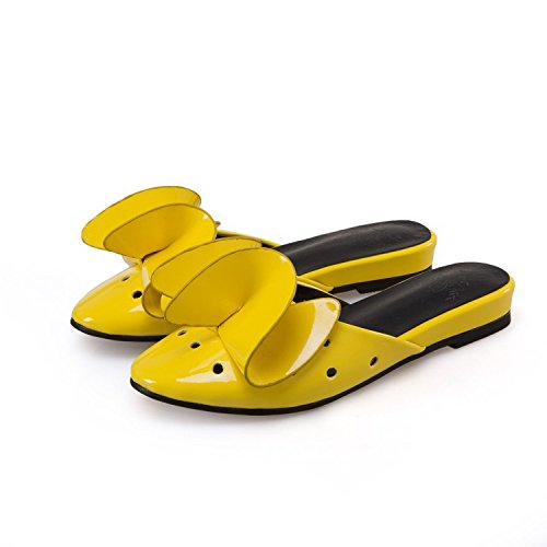 Shoes Leather not Three 2 do Dimensional Summer Slippers custom 40 Flowers Women's return Size New XDGG Flat days Large 4 Sandals yellow Patent wqp01nTO