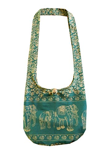 Sling Bag BTP Gypsy Crossbody Thai Ethnic Hobo Shoulder ME4 Small Hippie Cotton Elephant Evergreen Purse Bohemian wqq4XE