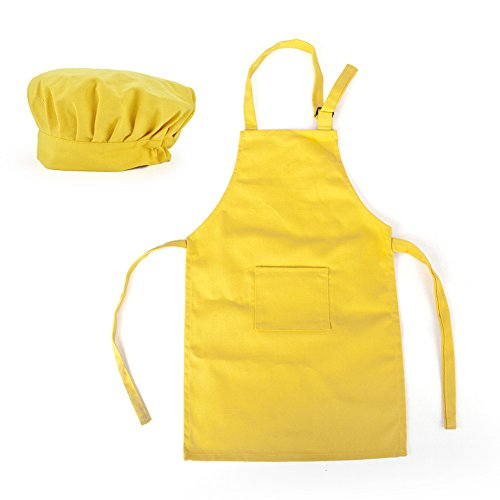 Opromo Colorful Cotton Canvas Kids Aprons and Hat Set, Party Favors(S-XXL)-Yellow-L (Yellow Canvas Cotton)