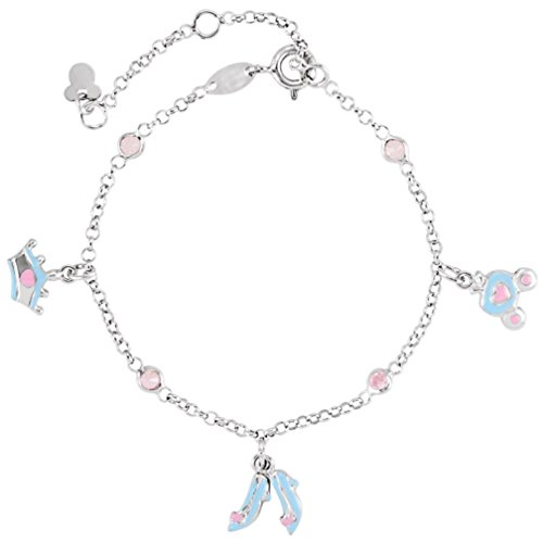 Childrens Pink CZ Cinderella Sterling Silver Charm Bracelet, Adjustable 5.5'' to 7.5'' by The Men's Jewelry Store (for KIDS)