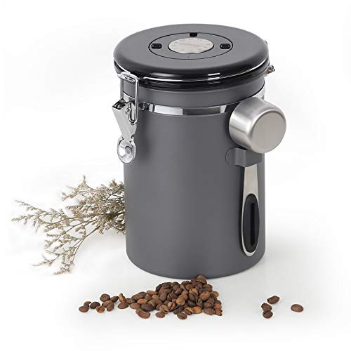 NEX Coffee Canister, Airtight Stainless Steel Storage Container with One Way Co2 Valve, Scoop and Date Tracker, Large…