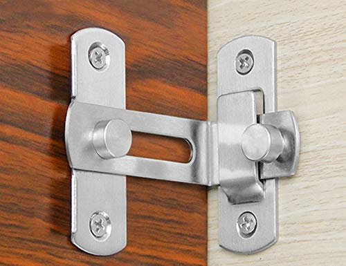 90 Degree Right Angle Door Latch Hasp Bending Latch Buckle Bolt Barn Sliding Lock Barrel Bolt with Screws for Toilet Doors and Windows Md trade