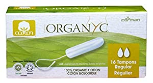 Organyc 100% Organic Cotton Tampon without applicator for Sensitive Skin, REGULAR, 16 count