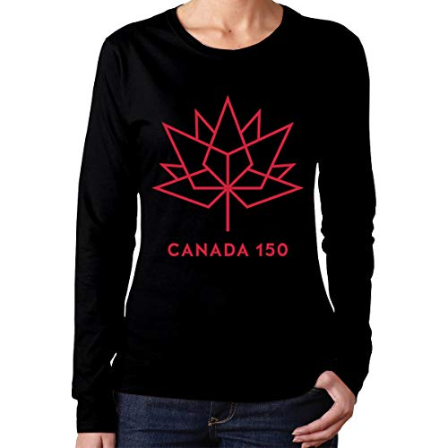 - Happy 150th Birthday Canada Women's Round Neck Long Sleeve Basic Tee Casual Tops