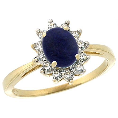 14K Yellow Gold Natural Lapis Engagement Ring Oval 7x5mm Diamond Halo, size 10 14k Yellow Gold Lapis Ring