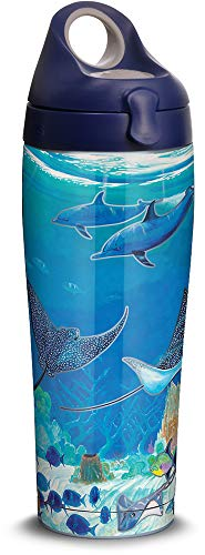 Tervis 1315976 Guy Harvey - Ocean Scene Stainless Steel Insulated Tumbler with Lid, 24oz Water Bottle, Silver