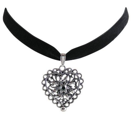 Trachtenschmuck Dirndl Herz mit Edelweiss Kropfband Samt - schwarz - Swarovski Elements Kristall - Farbe wählbar