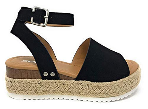 SODA Womens Ankle Wrap Espadrille Flat D'Orsay Sandal Topic (7 M US, Black Platform)