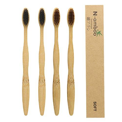 4 unidades bambú Cepillo de dientes de bambú ecológico, de madera natural. Cepillo de dientes hecho con carbón de bambú con cerdas suaves
