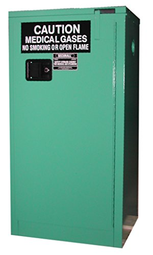 SECURALL MG321E Medical Gas Cylinder Storage Cabinet, 18-Gauge Gal. Steel, 2-Door, Self-Latch, Self-Close Safe-T Door, 46 x 43 x 1 in, 21-24 D,E Cylinder Cap, 15 YR Warranty - MG Green ()