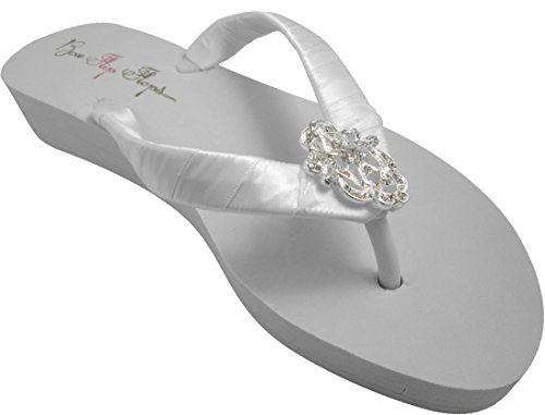 Lace WHITE Fops Vintage Choose 25 White 1 Ivory Wedge Inch Heel Heel Flip Rhinestone or Wedding In a5dXwxqO