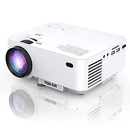 Projector, TENKER Upgrade +30% Lumens Mini Projector Home Theater 4.0'' LCD Movie Projector with 176'' Display Support 1080P HDMI USB SD Card AV VGA for TV Laptop Game Smartphone Includes HDMI Cable by TENKER