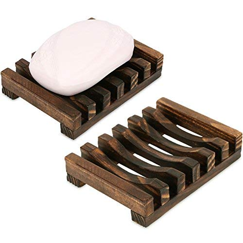 Anwenk Soap Dish Wooden Soap Saver Holder Soap Tray for Bathroom Shower Rectangular Sink Drainer Hand Craft for Soap,Sponges and More (2 Pack)