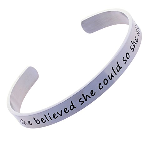 She Believed She Could And So She Did - Stainless Steel Cuff Bracelet Inspirational (Stainless Steel Graduate)