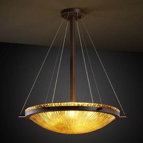 Justice Design GLA-9692-35-AMBR-DBRZ, Veneto Luce Glass Bowl Pendant, 6 Light, 450 Watts, Bronze - Veneto Bowl Pendant