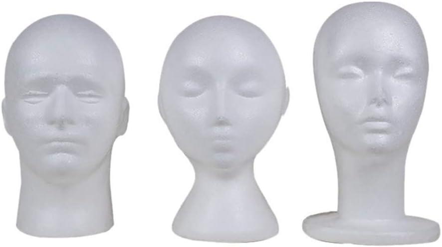 ywbtuechars Styrofoam Mannequin Head Model Sunglasses Eyeglass Stand Hat Cap Display Holder Mannequin Head Foam Head 3