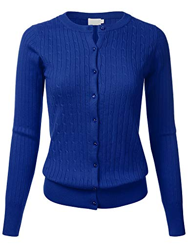(Women's Classic Gem Button Long Sleeve Crew Neck Cable Knit Fitted Cardigan Sweater RoyalBlue L)
