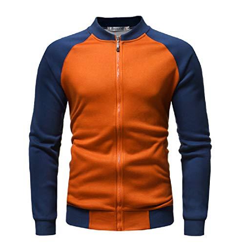 Howme-Men Contrast Casual Loose Raglan Sweatshirt Fleece Jacket Coats Orange