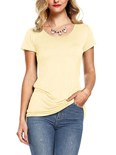 Cotton Classic Fitted Blouse - Amoretu Women Casual Fitted Scoop Neck Tops Short Sleeve Long Tee Shirts Apricot M