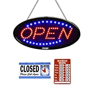 #LightningDeal LED Open Sign for Business - 23 x 14 inch (Larger Size) Store Advertisement - Electric Display Sign - Dual Modes for Flashing & Steady Light for Business Storefront, Walls, Window, Shop, Bar