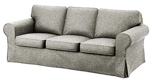 IKEA Ektorp 3 Seat Sofa Cotton Cover Replacement is Custom Made Slipcover for IKEA Ektorp Sofa Cover (Polyester Flax)