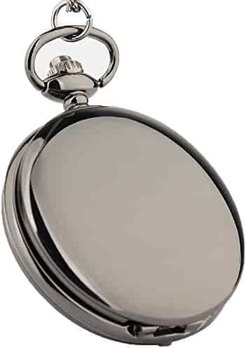 Zxcvlina Exquisite Smooth Vintage Flip Purple Dial Quartz Pocket Watch Black with Chain for Boys and Girls Metals Suitable for Mens Pocket Watch Gift