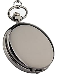 Unisex Pocket Watch Smooth Vintage Flip Purple Dial Quartz Pocket Watch Black with Chain for Boys and Girls