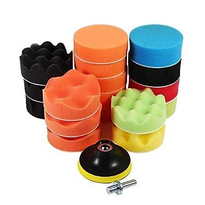 19 Pcs 3 inch Sponge Buff Polishing Pads Set For Car Polisher & Waxing(M10 Drill Adapter): Automotive