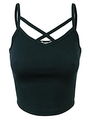 BEKDO Womens Solid Ribbed Peek-A-Boo Cut-Out Cropped Cami Tank Top-S-Dark_Green