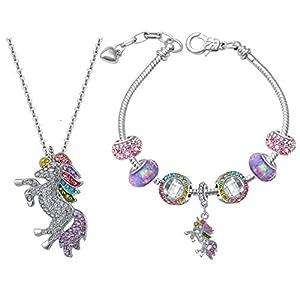 SHWIN Unicorn Gifts – Rainbow Unicorn Necklaces Charm Bracelets for Girls Women Jewelry Set