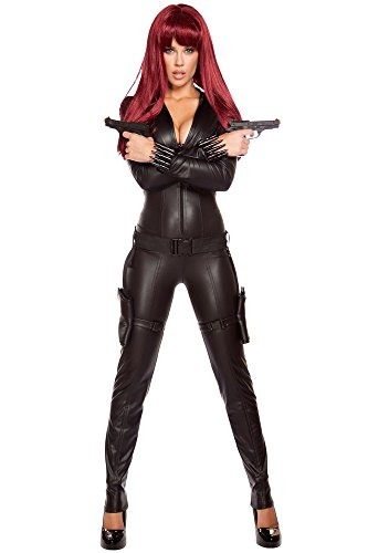 [Roma Costume Women's 2 Piece Alluring Assassin, Black, Large] (Black Widow Sexy Costumes)