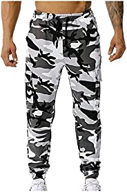 KAGAYD Men's Athletic Casual Jogger Sweatpants Camouflage Elastic Waist Slim Fitted Running Fitness Trouse