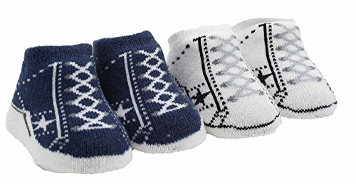 Converse One Star Infant Booties Socks-2 Pack (0-6 Months, Navy/White) -
