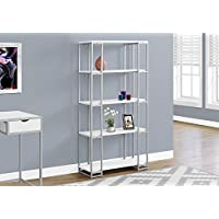 Monarch I 7242 Bookcase-60 H Silver Metal, White