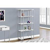 Monarch I 7242 Bookcase-60 H Silver Metal, White
