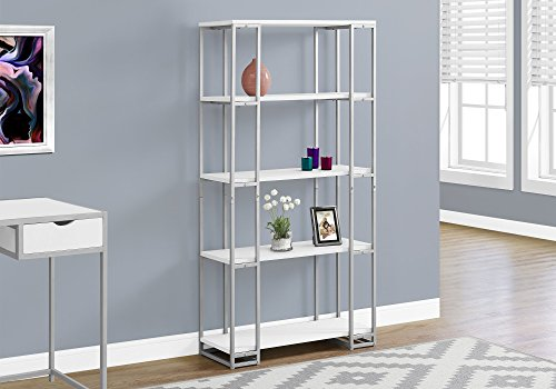 Monarch Specialties I I 7242 Bookcase-60 H Silver Metal, White