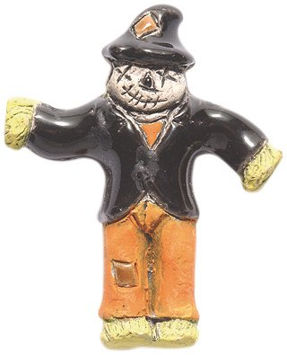 (Shipwreck Beads 33mm Peruvian Hand Crafted Ceramic Scarecrow Beads, Orange, 3 per Pack )