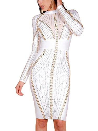 Nylon Stud (S Curve Women's Crystal Stone & Stud Embellished Bandage Dress Bodycon Long Sleeve Homecoming Cocktail Party Dress White X-Small)