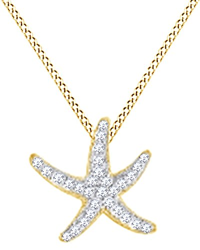 Round Cut White Natural Diamond Starfish Pendant In 14k Yellow Gold (0.24 (14k Gold Starfish Necklace)