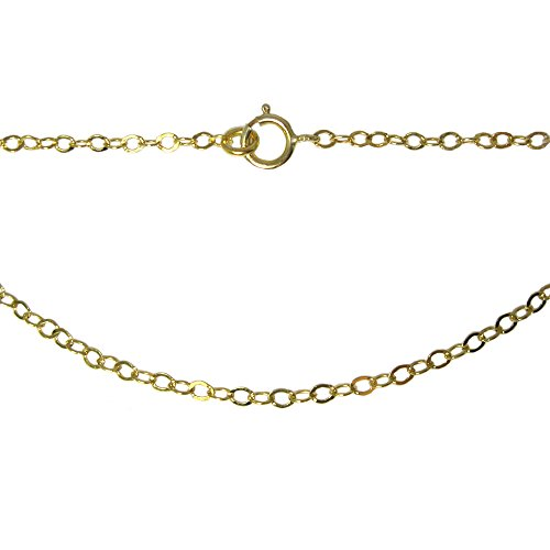 22K Gold plated Sterling Silver Necklace Chain 2.2 by 2mm Flat Cable Oval Chain Necklace 16-36 Inches (36) ()